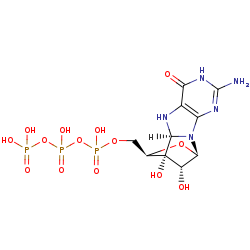 Picture of (8S)-3',8-cyclo-7,8-dihydroguanosine 5'-triphosphate (click for magnification)